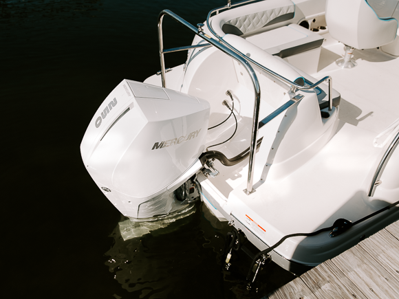mercury outboards on a boat